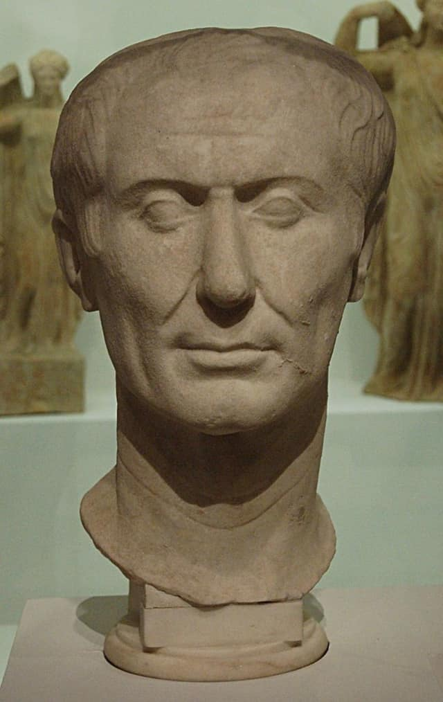 """This Tusculum portrait of Julius Caesar is said to be the only surviving portrait of the doomed Roman emperor created during his lifetime. The expression, """"Beware the Ides of March,"""" springs from a soothsayer's warning in a Shakespeare tragedy."""
