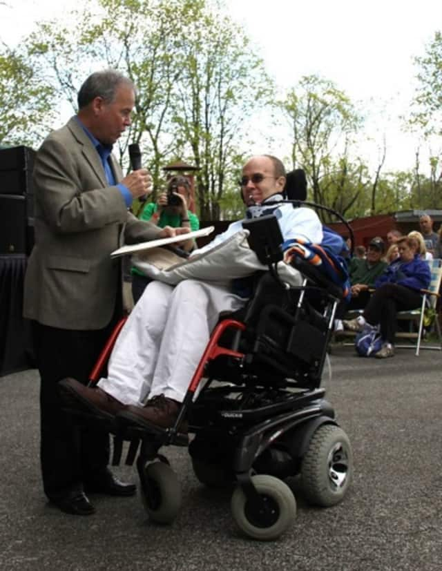 Paralyzed teacher Billy Keenan is shown with Rockland County Executive Ed Day in Tappan's German Masonic Park in 2014. Keenan, a New City resident, has been back in the classroom for nearly a year now.
