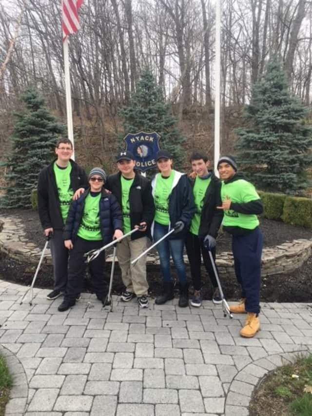 Clarkstown Police Explorers cleaned the Brinks Memorial area for Keep Rockland Beautiful on April 9.