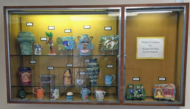 This ceramic showcase by students at Pleasantville High School is on exhibit at the Mount Pleasant Library through May 9.