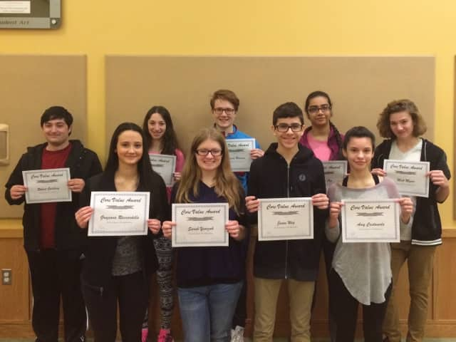 These Irvington High School students were recognized by the district with a Core Value Award in February.