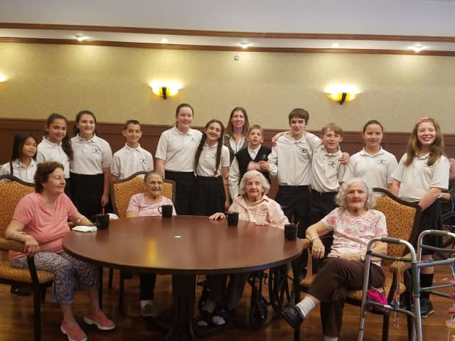 Students at St. Patrick's in Yorktown sang for senior citizens on a recent visit to North Westchester Restorative Therapy and Nursing Center in Mohegan Lake, N.Y.