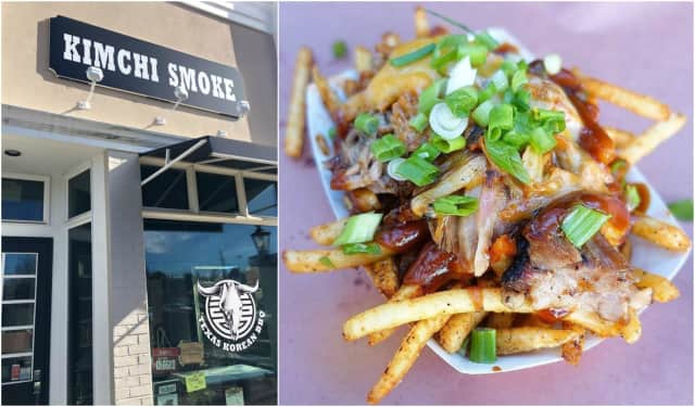 Kimchi Smoke's new Westwood location and ChoLander Fries - fries loaded with smoked kimchi, cheddar cheese, pulled pork and fatboy sauce.