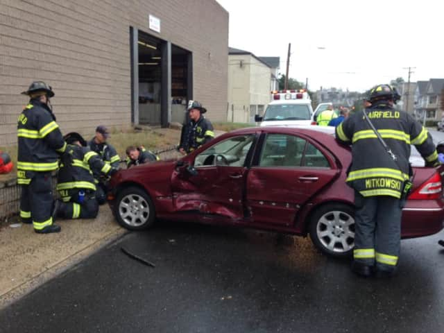 Fairfield firefighters respond to a car accident on Kings Highway East.