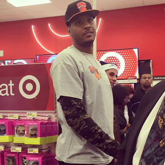 Carmelo Anthony of the Knicks at Target in Mount Kisco on Monday.