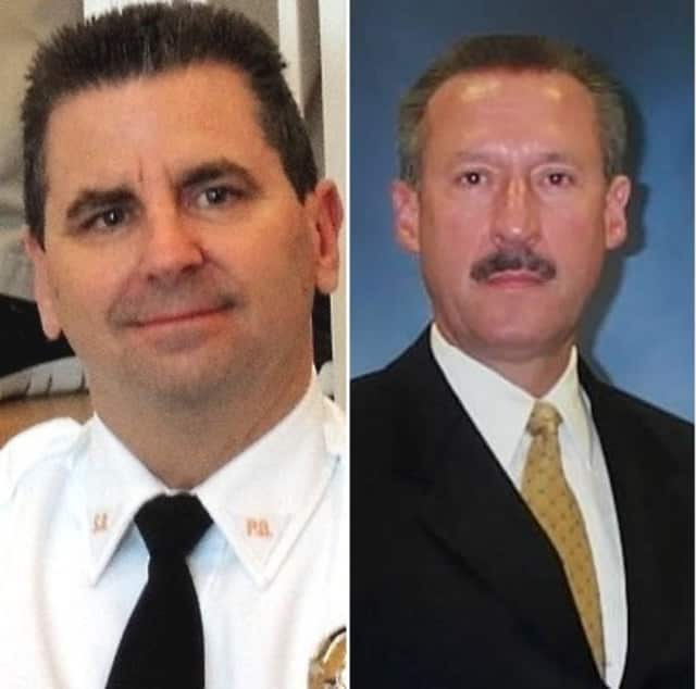Saddle Brook Police Chief Robert Kugler (left), Ocean County Prosecutor's spokeman Al Della Fave (right)