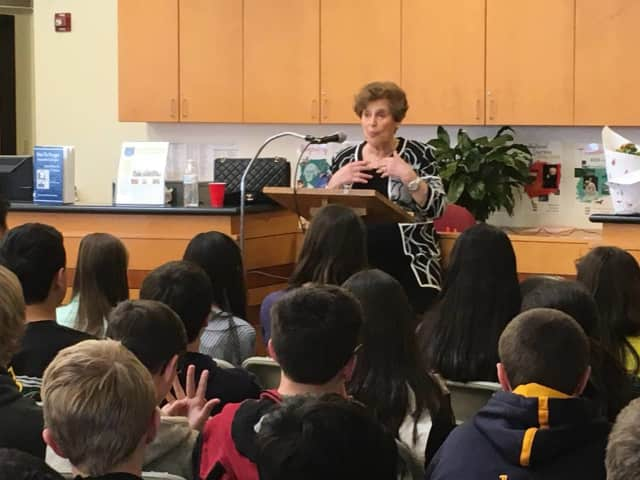Betty Knoop, who survived the Holocaust, talks to eighth-graders at Peham Middle School about her experiences.