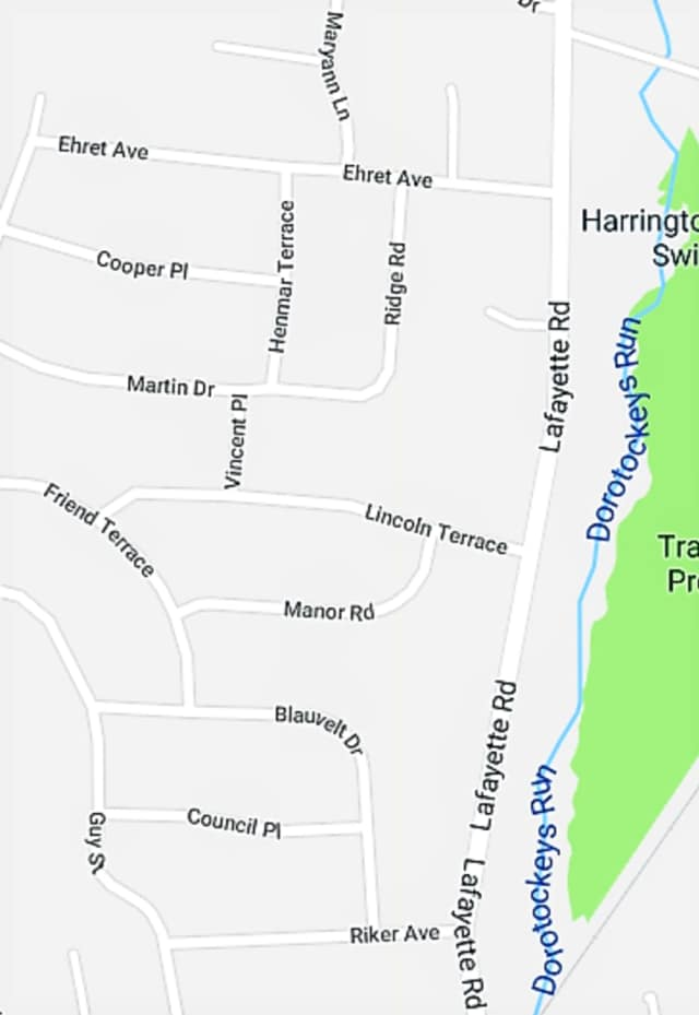 The Harrington Park vehicles were stolen or broken into over the weekend in the area outlined on this map.