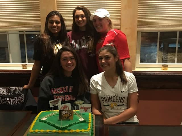 Five girls from Lakeland High School have announced they will play softball in college. In front are Colleen Walsh and Cameron Lischinsky, and in back (left to right) are Krista Verrino, Amber Badillo and Olivia Knopf.