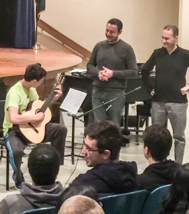 Guitarist Diego Campagna recently visited with Felix Festa Middle School students.
