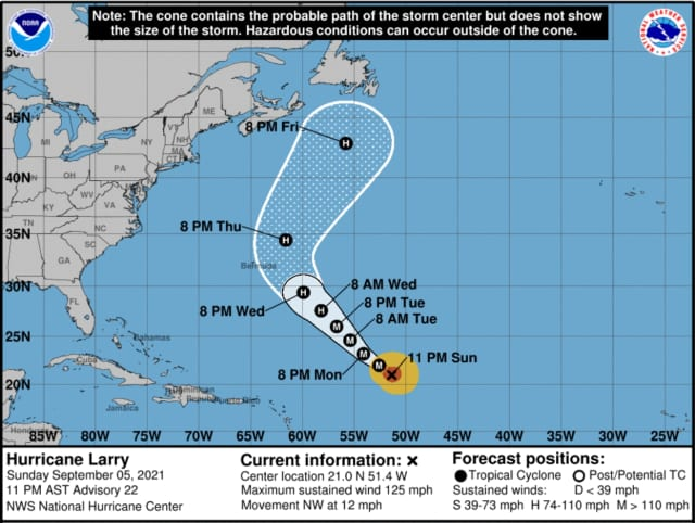 """Larry is still a """"large and expanding hurricane"""" that's expected to cause """"life-threatening surf and rip current conditions"""" along the Jersey Shore and some points north around midweek."""