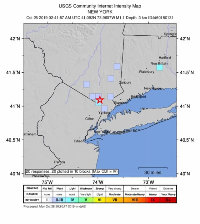 Some 20 people reported feeling a small earthquake in Mamaroneck on Monday, Oct. 28, after a quake was reported last week in West Nyack.