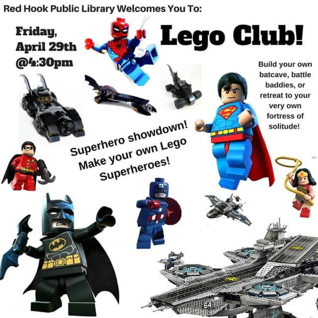 Legomania will ensue at Red Hook Public Library on Friday, April 29.