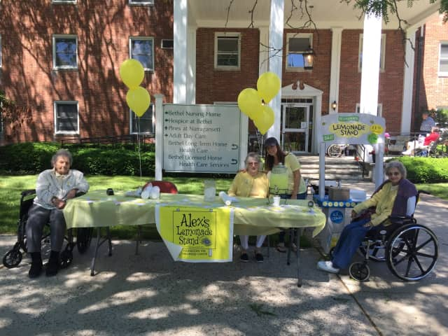 Seniors at Bethel Nursing Home raised money for childhood cancer with Alex's Lemonade Stand.