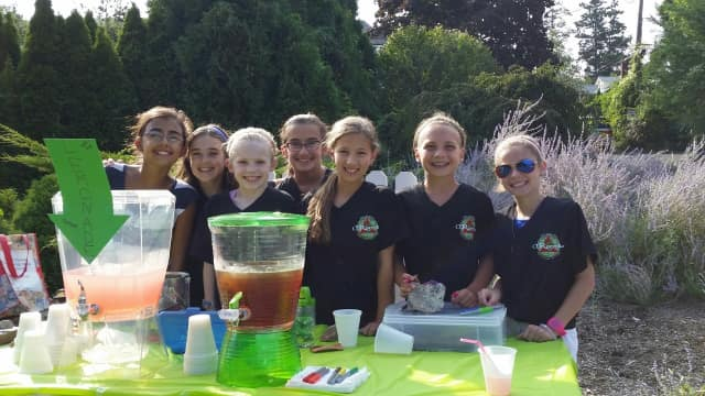 The girls at one of the fundraising lemonade stands they set up over the summer.
