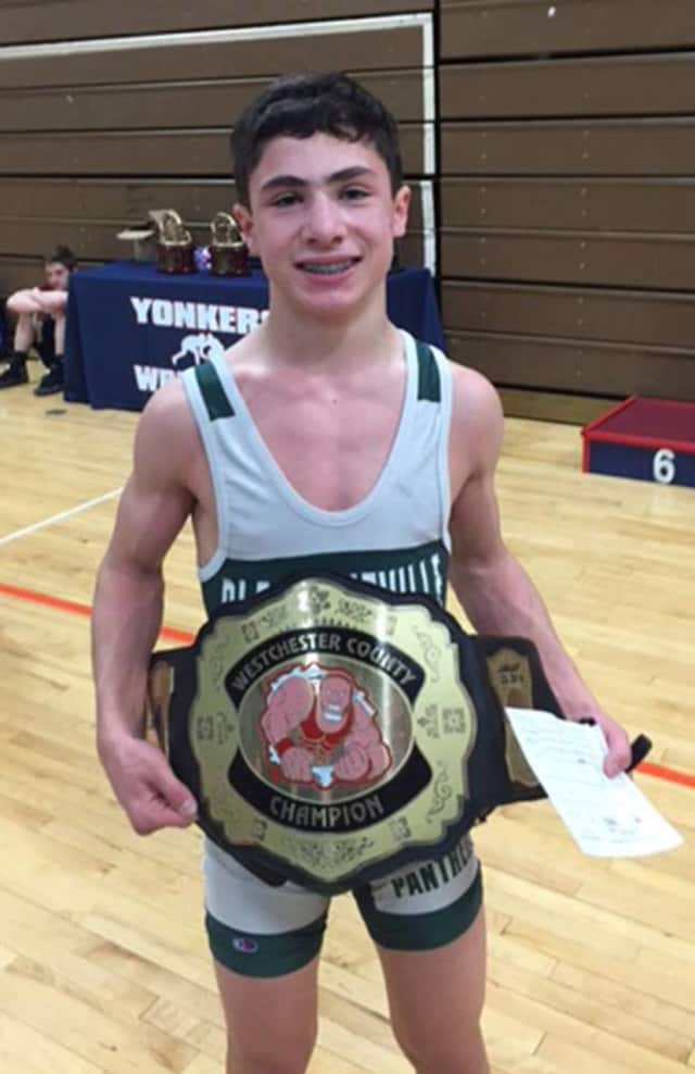 Pleasantville 8th grader Len Balducci won the top prize in the 99 lb. weight class at the second annual Westchester County Wrestling Championship.