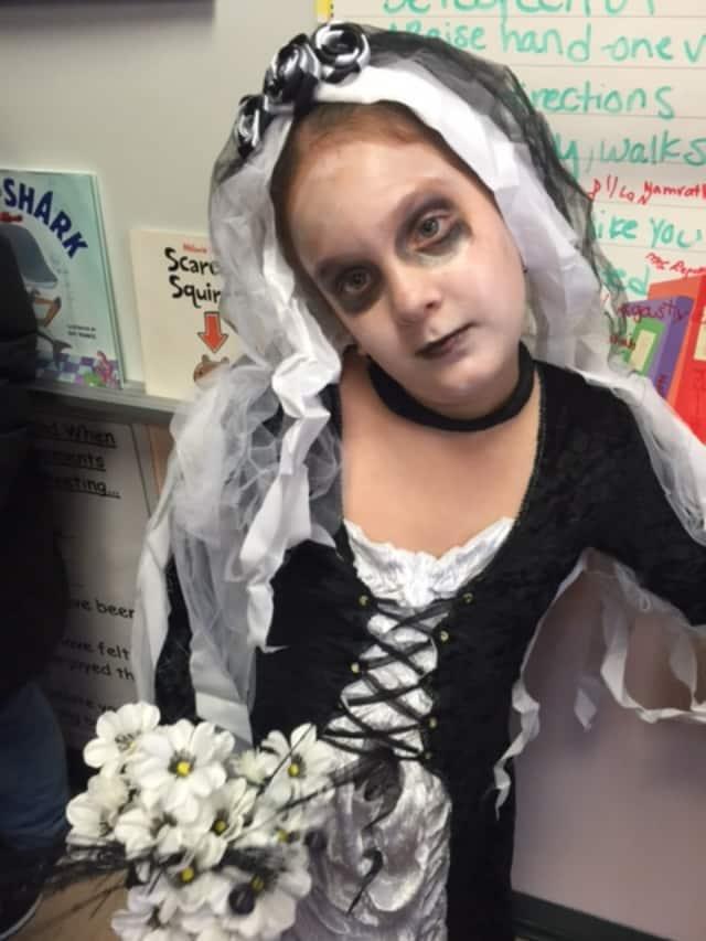 Samantha Pine dressed up for Halloween.