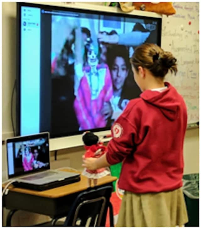 Middle school students at The Chapel School used technology to share lessons, stories and customs with students across the globe.