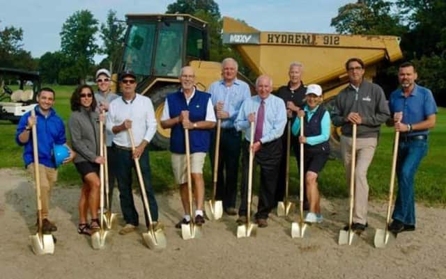 Westport town officials break ground on a bunker improvement project at Longshore Golf Course.