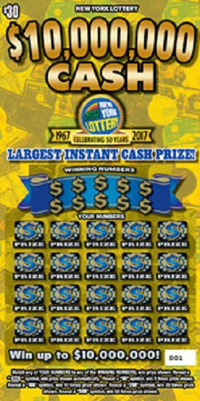 """A Poughkeepsie couple made history by purchasing the winning scratch-off ticket in the New York Lottery's special 50th Anniversary instant game, """"$10,000,000 Cash."""""""