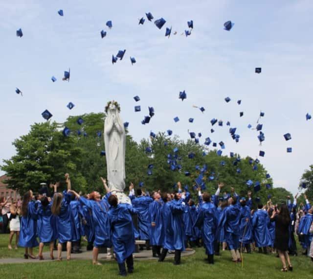 Graduates at the 2016 commencement exercises at Our Lady of Lourdes in Poughkeepsie toss their caps into the air last June 4.