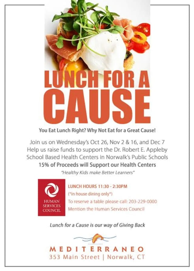 Mediterrano of Norwalk will host Lunch for a Cause on Wednesday, Oct. 26.