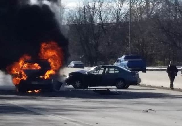 Two vehicles were torched.
