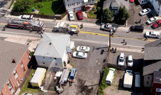 Aerial view of Wednesday's fire on Riverview Avenue in Lyndhurst.