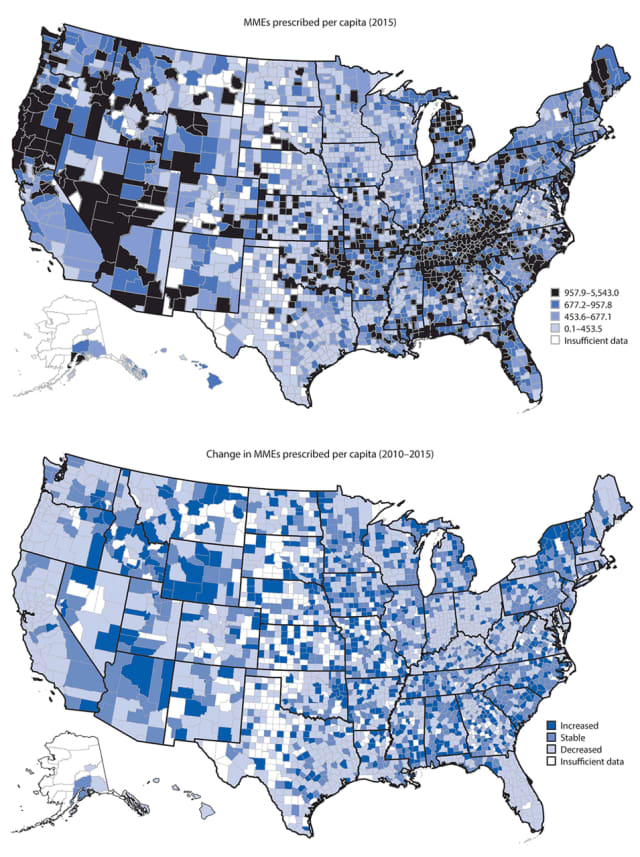 Morphine milligram equivalents (MMEs) of opioids prescribed per capita in 2015 and change in MMEs per capita during 2010–2015, by county — United States, 2010–2015.