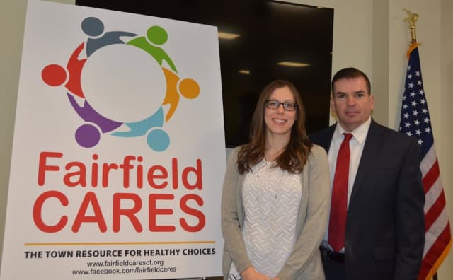 Amanda Romaniello, left, and Police Chief Gary McNamara have been have been elected co-chairs of the Fairfield Cares Community Coalition.
