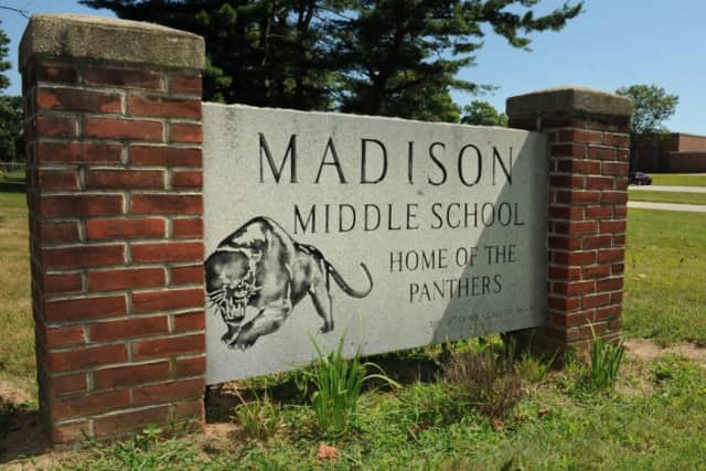 Madison Middle School in Trumbull is one of four polling places.