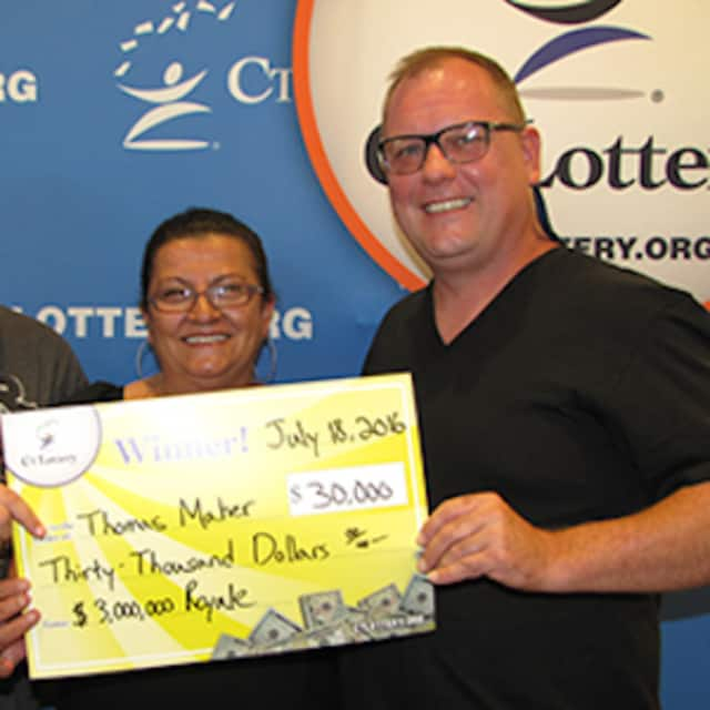 Thomas Maher and his wife, Leze Zadrima, won $30,000 in the $3 million Royale scratch-off game in the Connecticut Lottery.