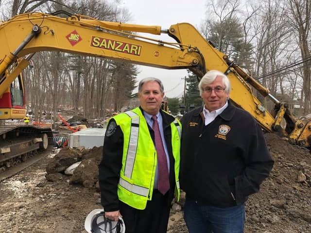 Bergen County Executive James Tedesco and Mahwah Mayor William Laforet surveyed the Route 202 construction.