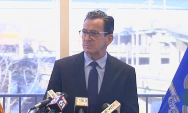 Gov. Dannel P. Malloy discusses the postponement of transportation projects across the state