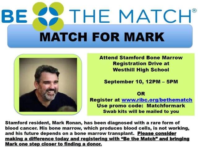 Stamford resident Mark Ronan needs a bone marrow transplant. Friends are organizing a bone marrow drive Saturday in Stamford.