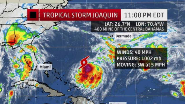 Forecasters say Tropical Storm Joaquin could strike the Northeast later this week.