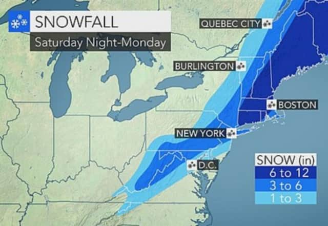 The revised forecast as of Friday.