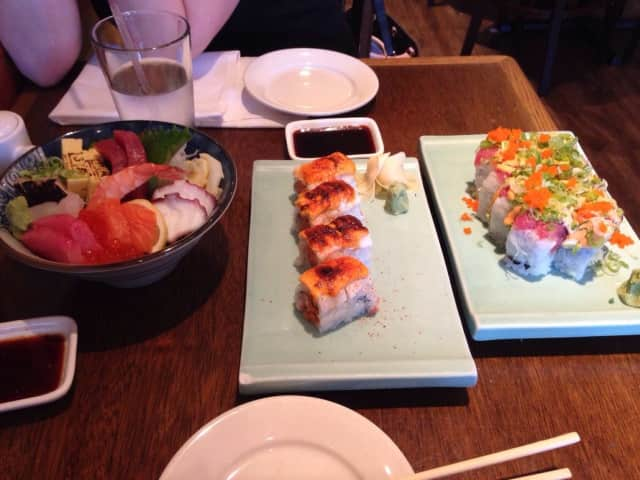 Chirashi sashimi bowl, Cajun roll, Crazy roll at Masa Sushi in Allendale.