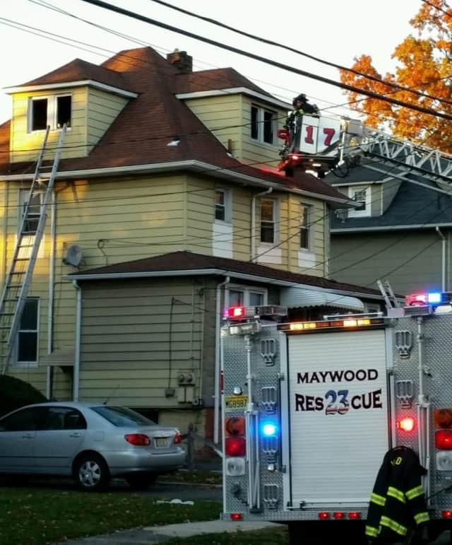 At scene of Poplar Avenue fire in Maywood.
