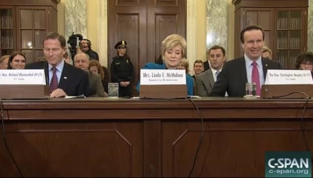 Linda McMahon is joined by U.S. Sen. Richard Blumenthal and U.S. Sen. Chris Murphy at her confirmation hearing Tuesday.