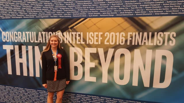 Pelham High School student Megan Ploch placed second in the environmental engineering competition at the recent Intel International Science and Engineering Fair.