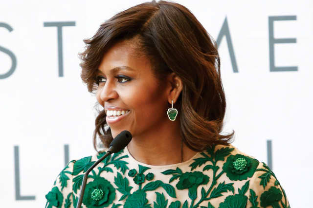 Michelle Obama speaks at the ribbon-cutting ceremony for The Metropolitan Museum of Art's Anna Wintour Costume Center in Manhattan on May 5, 2014.
