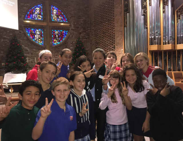 A speaker talked about her teaching experiences in the Middle East during a Dec. 2 event at The Chapel School.