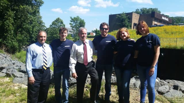 County Drainage Agency Director Vincent Altieri, County Executive Ed Day and Rockland Conservation Corps members Michael Clements, Devon Kenny, Caitlin Golden and Kelcie Bogardus