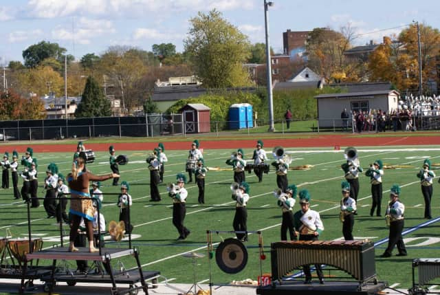 The Midland Park Marching Band plays host to the 18th annual Music in the Park exposition.