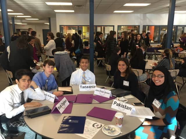 From left to right, Jonathan Cisneros, Ryan Basso, Eli Taylor-Lemire, Karmen Pantoja and Larabe Iqbal. Pantoja, a senior, won an award for the best position paper at the Model UN conference.