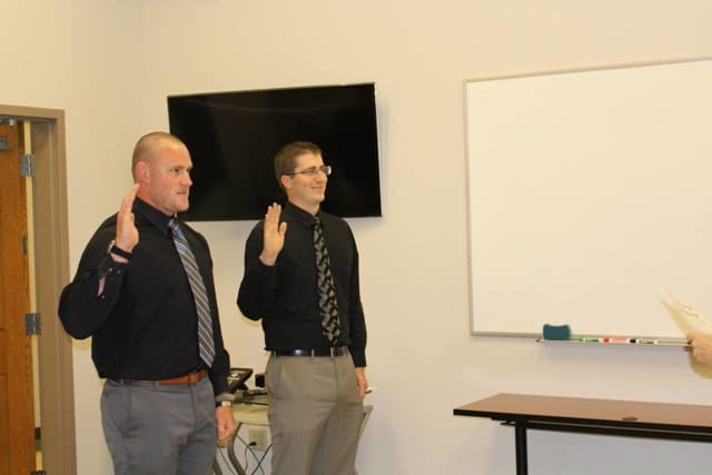 The Monroe Police Department swore in Matthew Johnston and Michael Thompson as its two newest members on Thursday.