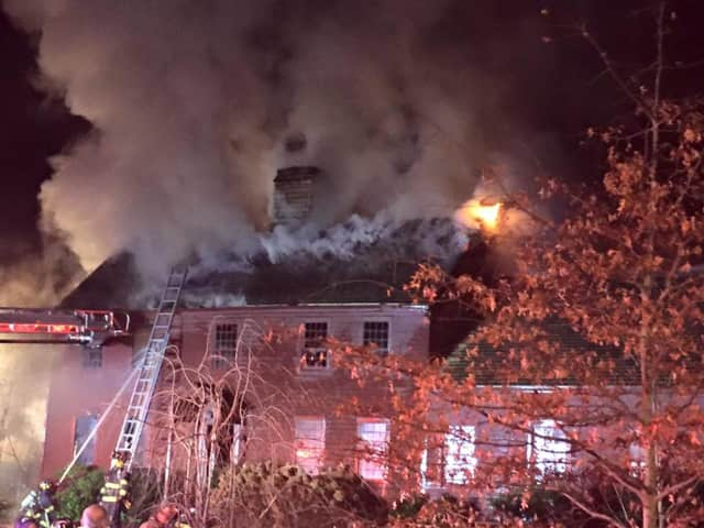 Electrical wiring in the basement is being blamed for the fire that destroyed this Hammertown Road house in Monroe, Conn.