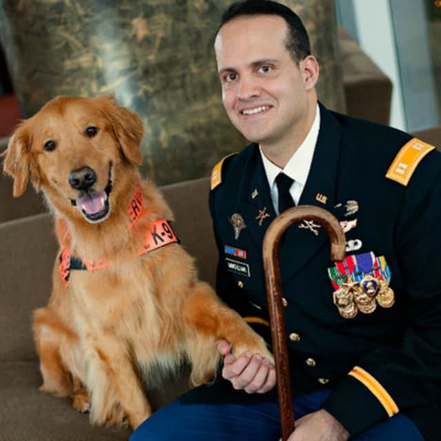 Capt. Luis Montalvan and his dog, Tuesday, will give a talk in Northvale Sunday at Books & Greetings.