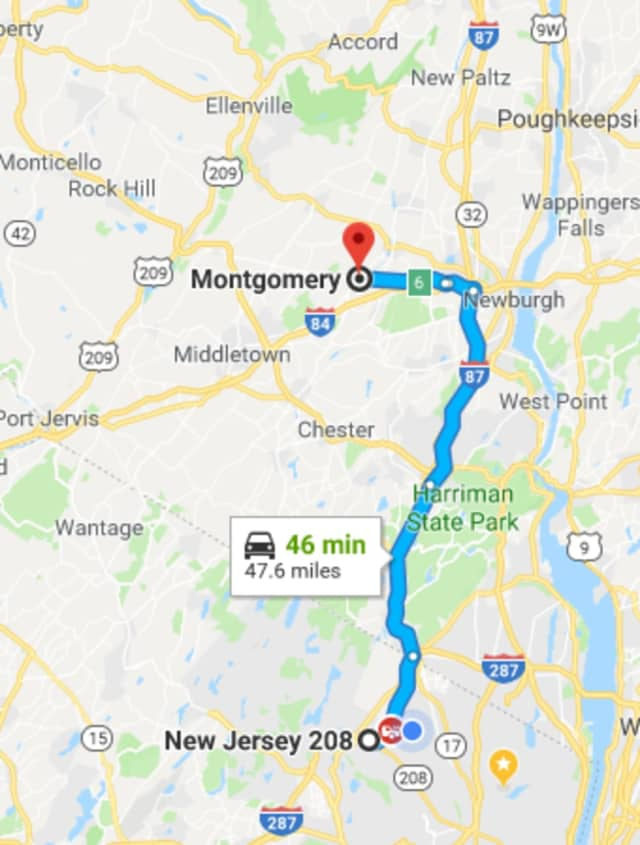 """The Montgomery driver """"appeared to have a difficult time maintaining his lane of travel,"""" police in Wyckoff, N.J. said."""